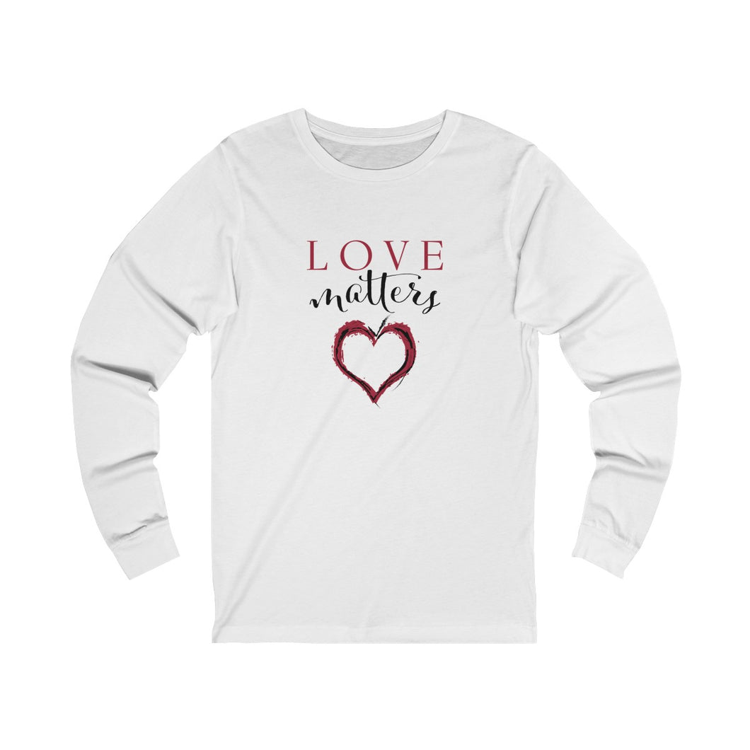 JTEESinc white unisex cotton crew neck long sleeve t-shirt with red and black print heart graphic and love matters slogan