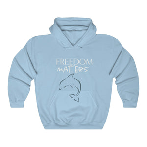JTEESinc Freedom Matters light blue hoodie with Orca Dolphin graphic. Classic adults fit crew neck and soft fleece lining