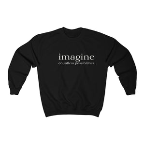 JTEESinc unisex black cotton-mix sweat-shirt features the IMAGINE countless possibilities inspirational affirmation print