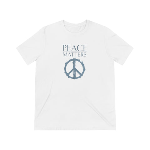 premium unisex white cotton crew neck t-shirt featuring the JTEESinc Peace Matters graphic design in blue grey print