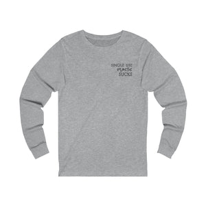 athletic heather grey unisex jersey Triblend long sleeve t-shirt features pocket size single use plastic sucks slogan