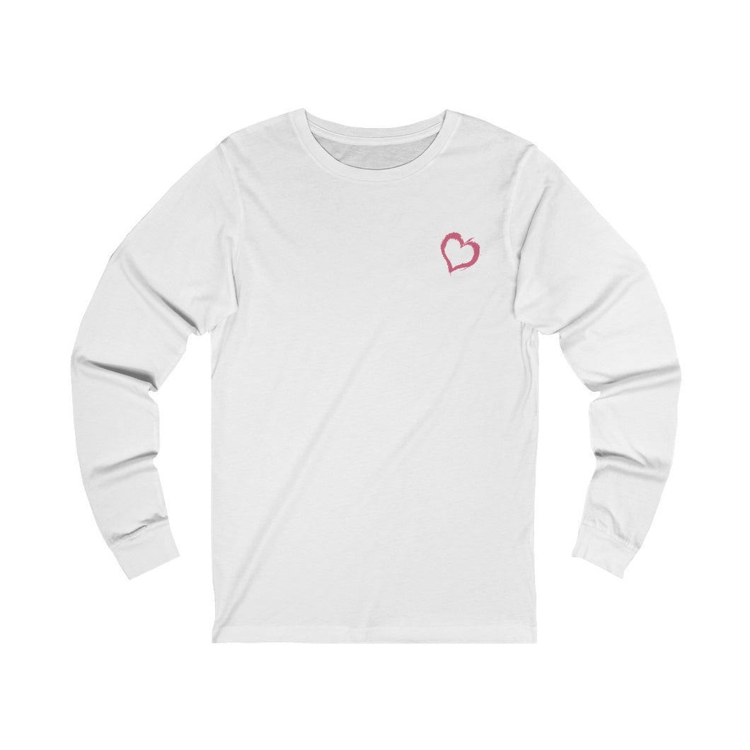 white unisex jersey triblend Long Sleeve T Shirt from the Pocket Prints collection features JTEESinc Tiny heart design