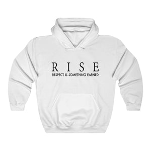 JTEESinc Unisex Premium White Statement Hoodie features the inspirational slogan, RISE - Respect is Something Earned
