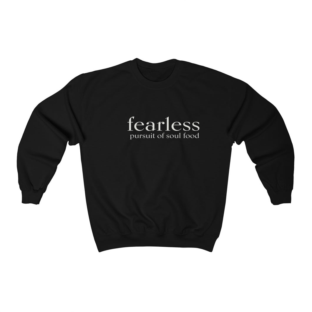JTEESinc unisex black cotton-mix sweat-shirt features the FEARLESS pursuit of soul food inspirational affirmation print