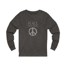 Load image into Gallery viewer, JTEESinc grey unisex cotton crew neck long sleeve t-shirt with peace sign graphic and peace matters slogan