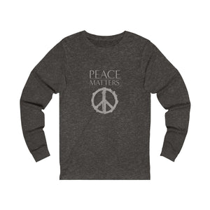 JTEESinc grey unisex cotton crew neck long sleeve t-shirt with peace sign graphic and peace matters slogan