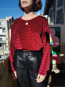 Beau top en velours bordeaux