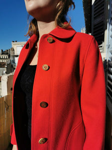 Sublime manteau 70s rouge en laine