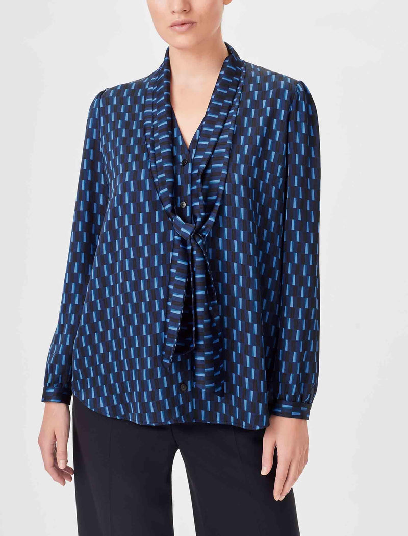 Navy Geo Print Shirt With Scarf
