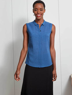 Hailey Sleevless Shirt - Cornflower Blue