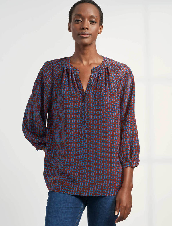 Heidi Silk Collarless Gathered Blouse - Rust Circle Geo Print
