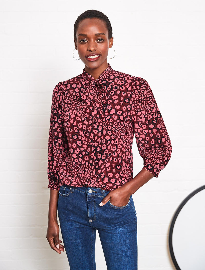 Willow Silk Pussy-Bow Shirt - Rose Leopard Pansy