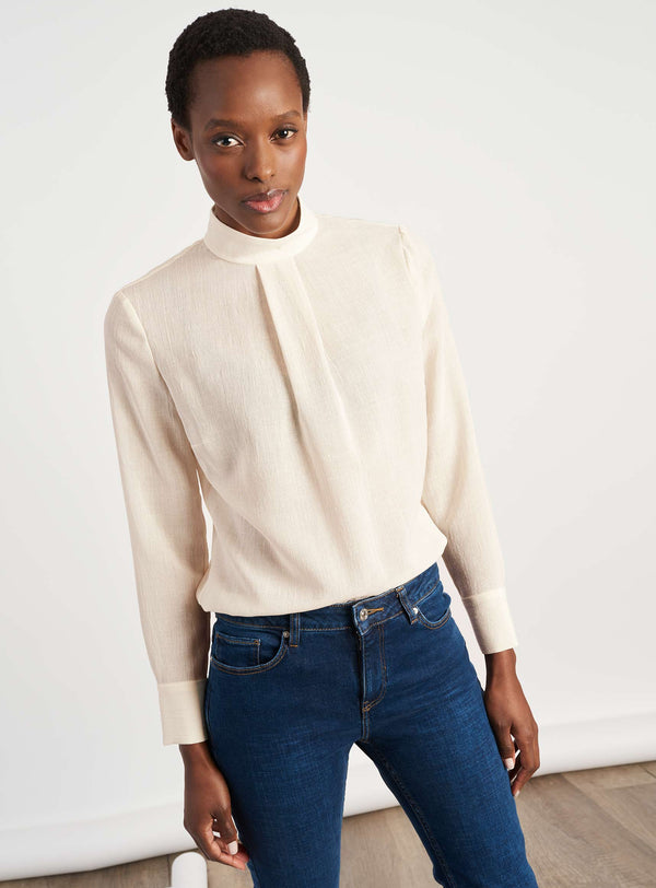 Riley Funnel Neck Blouse - Cream