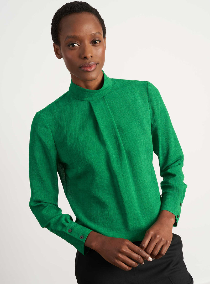 Riley Funnel Neck Blouse - Emerald Green