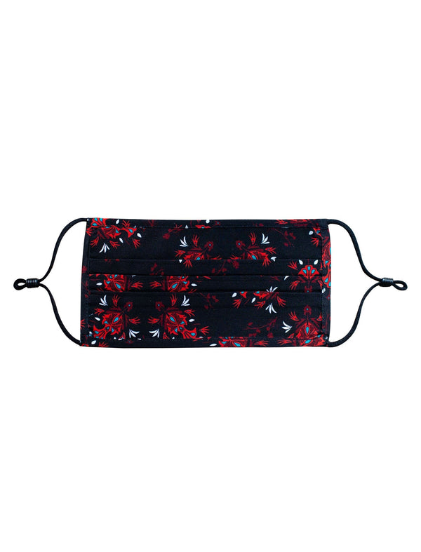Silk Face Mask - Black/Crimson Floral