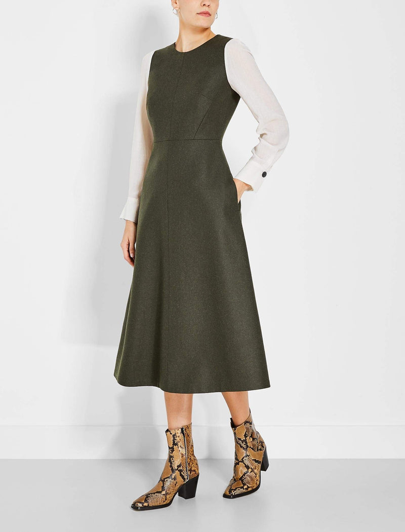 khaki wool midi dress