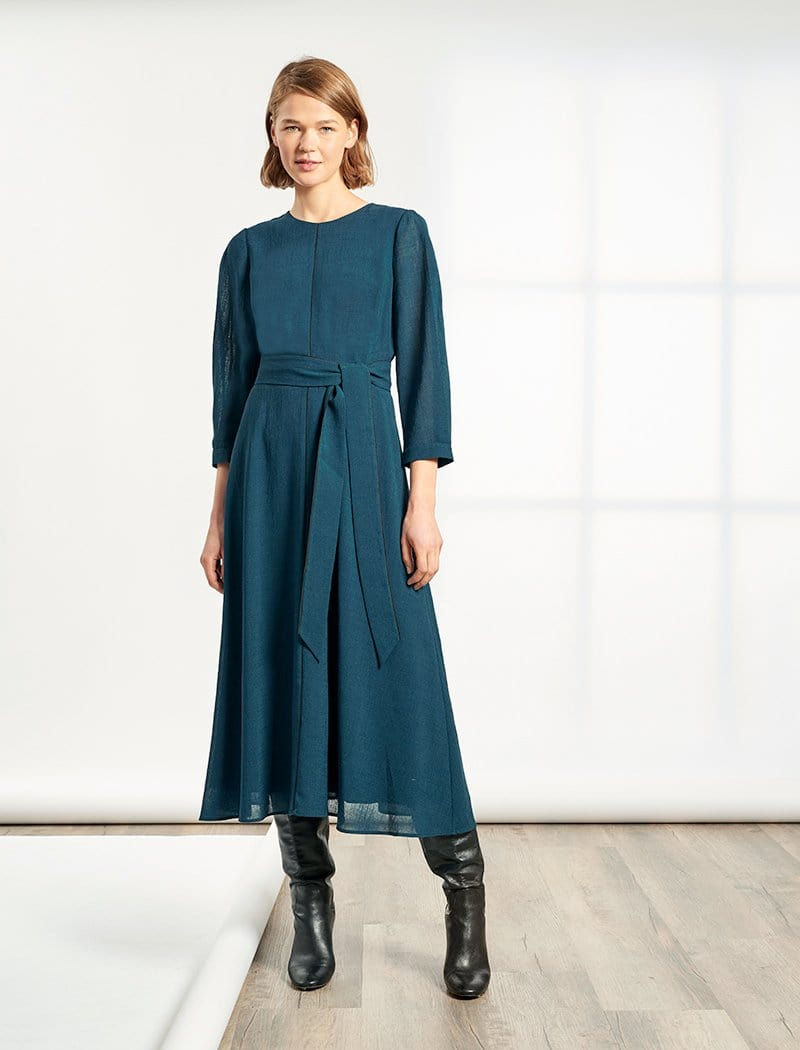 Isabel 3/4 Sleeve Maxi Dress - Petrol Blue