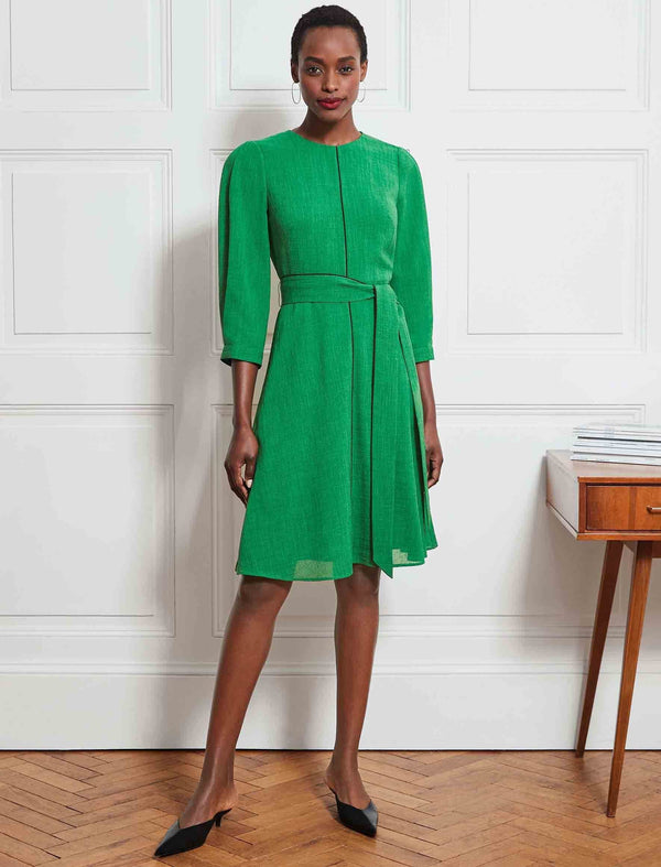 Isabel 3/4 Sleeve Knee Length Dress - Emerald Green