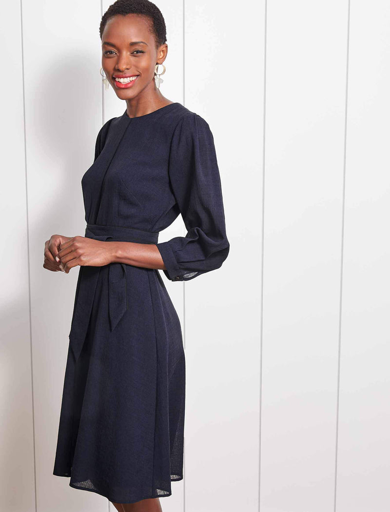 Isabel 3/4 Sleeve Knee Length Dress - Navy