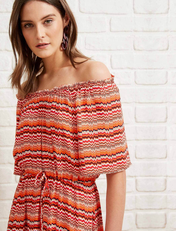 Bella Gathered Shoulder Drawstring Midi Dress - Burnt Orange Chevron