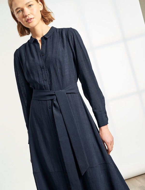Millie Collared Long Sleeve Midi Shirt Dress - Navy