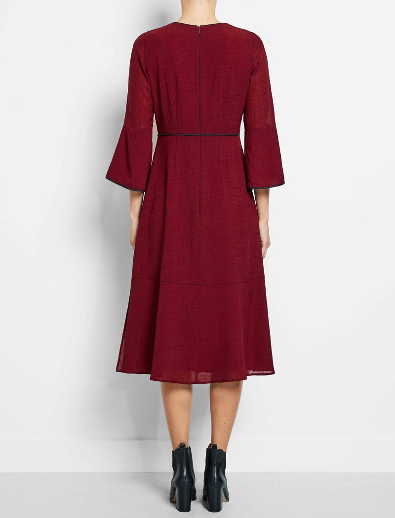 dark red maxi dress flute sleeve