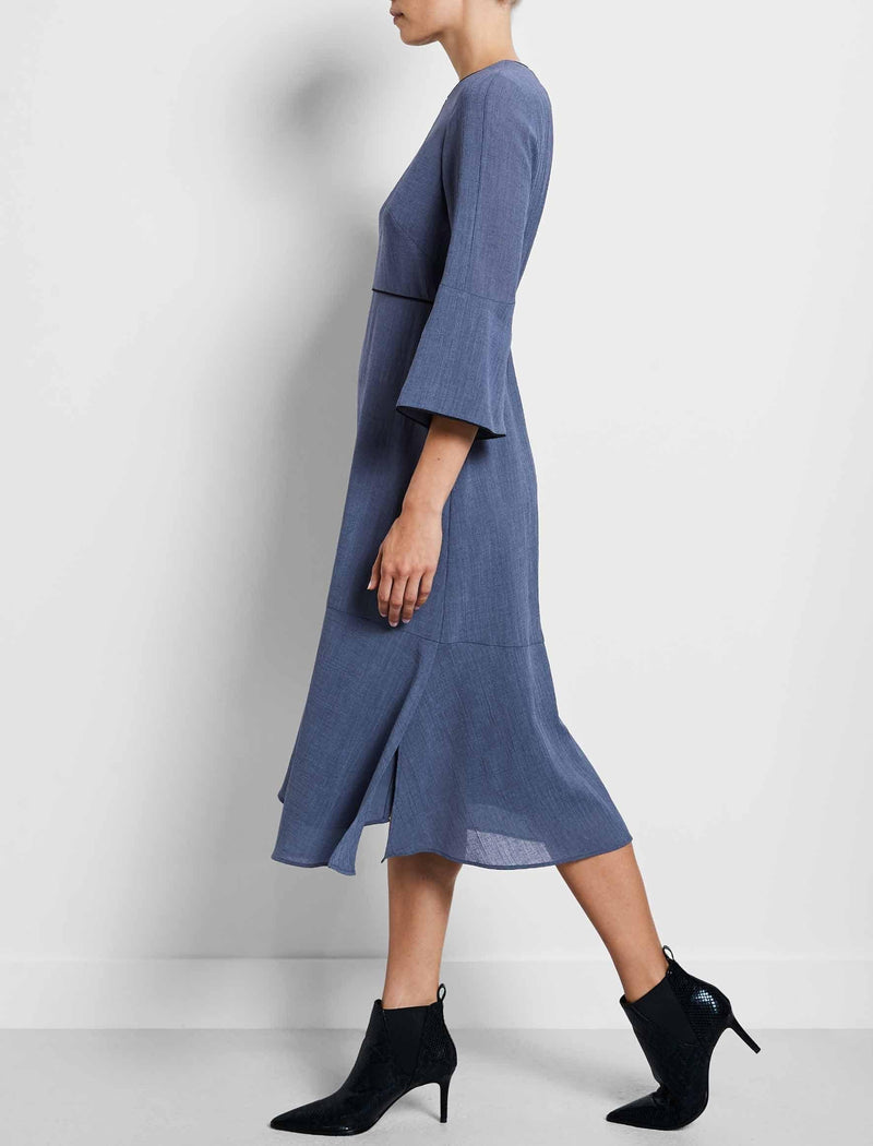 flute sleeve dress powder blue