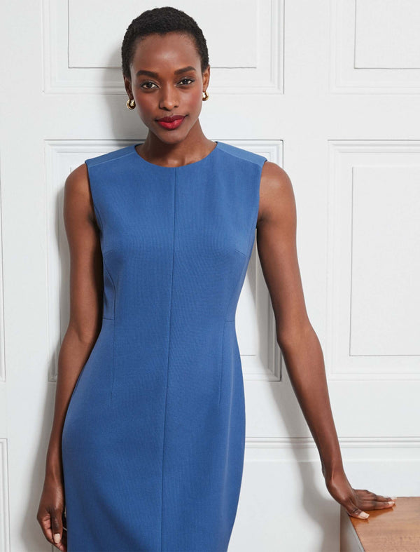 Edie Contrast Panel Sleeveless Pencil Dress - Cornflower Blue