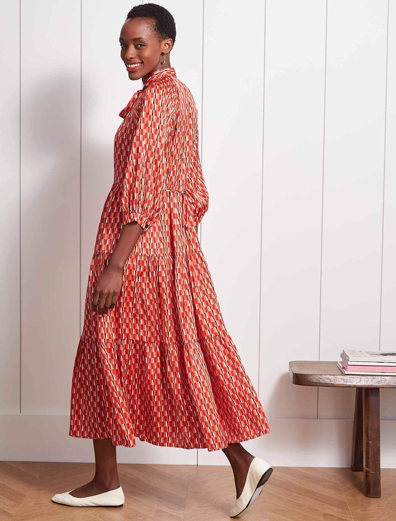 Olivia Gathered Pussy-Bow Maxi Dress - Tangerine Geo Print