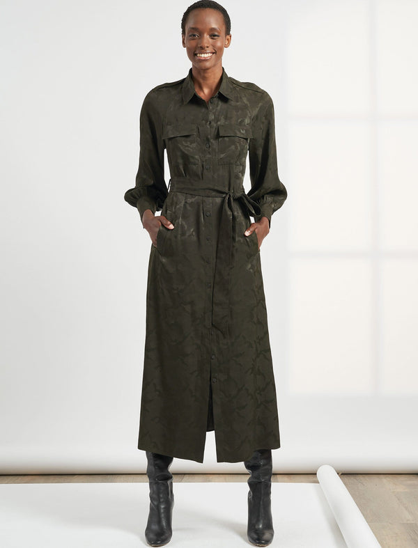Robyn Pocket Detail Maxi Length Camo Jacquard Shirt Dress - Khaki