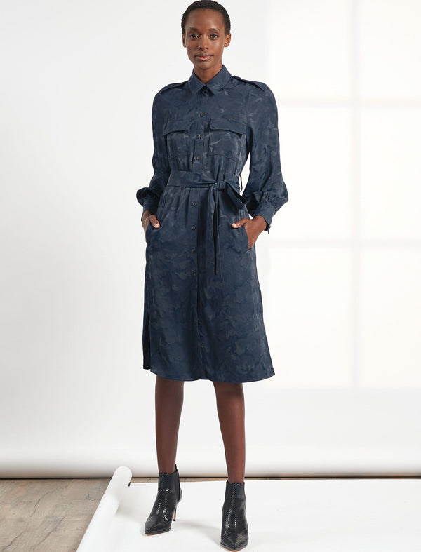 Robyn Pocket Detail Knee Length Camo Jacquard Shirt Dress - Navy