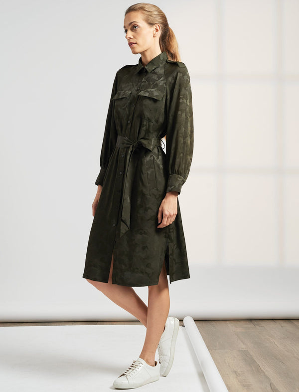 Robyn Pocket Detail Knee Length Camo Jacquard Shirt Dress - Khaki