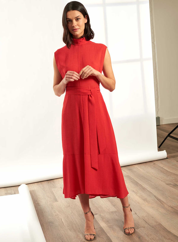 Etta Sleeveless Funnel Neck Midi Dress - Crimson