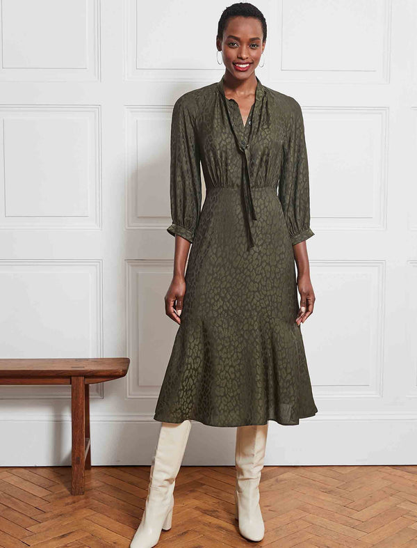 khaki silk dress