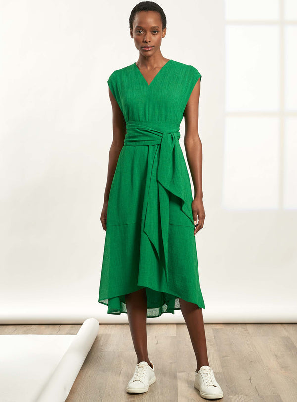 Freya V Neck Dipped Hem Midi Dress - Emerald Green