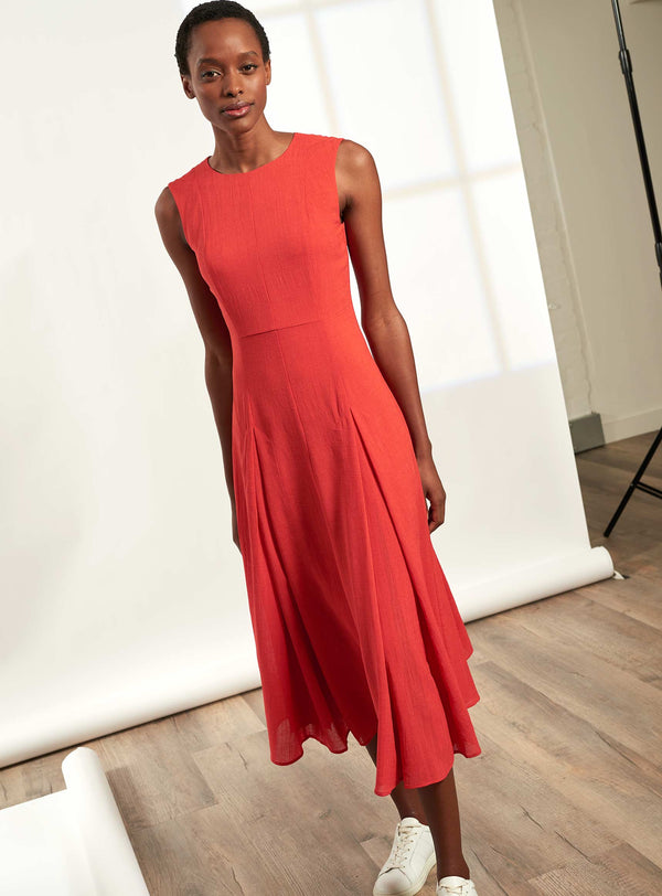 Melina Sleeveless Maxi Dress with Pleats - Crimson