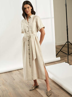 Lexi Short Utility Sleeve Maxi Shirt Dress - Ecru