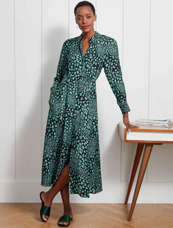 Astrid Raglan Long Sleeve Maxi Shirt Dress - Mint Leopard Pansy