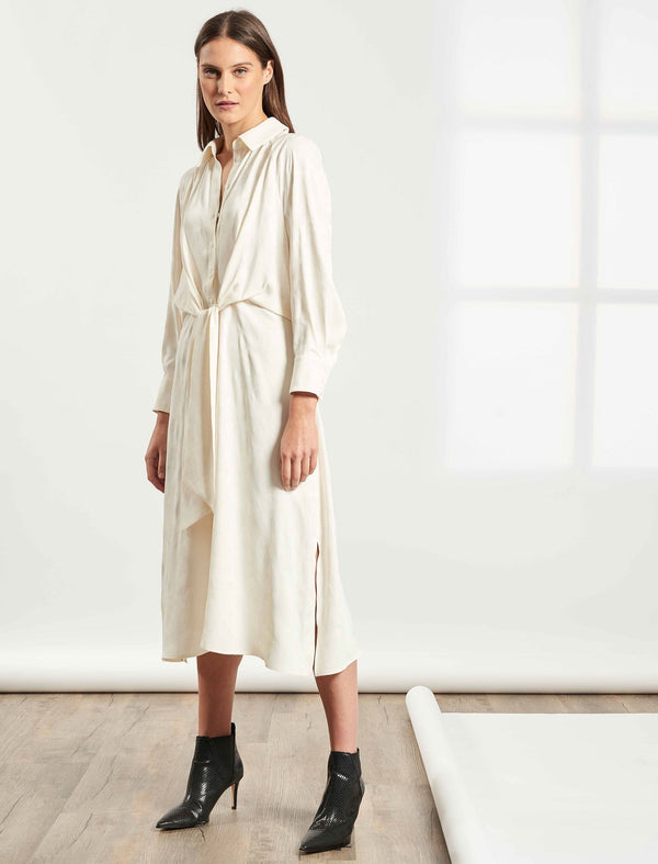 Esther Tie-Front Shirt Dress - Cream Camo Jacquard