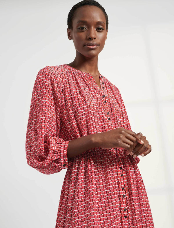 Heidi Silk Collarless Gathered Maxi Shirt Dress - Rose Circle Geo Print