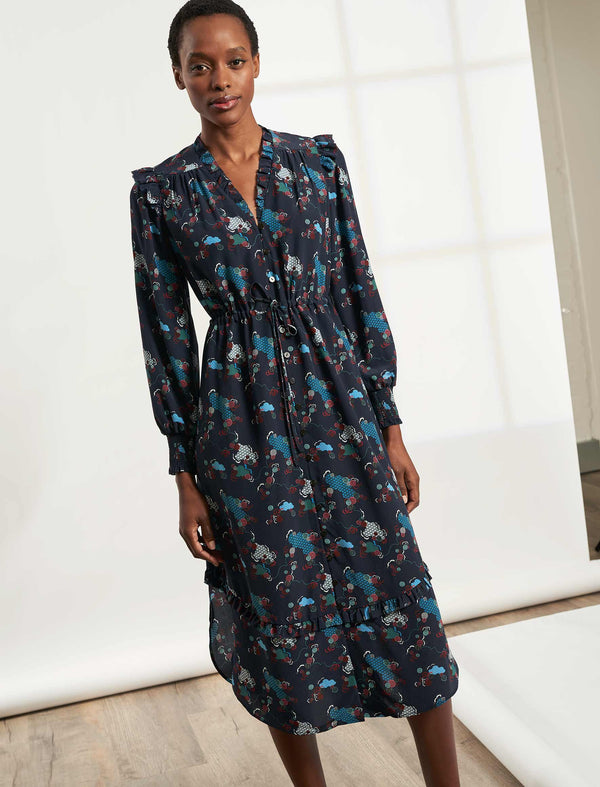 Stella Drawstring Long Sleeve V-Neck Frill Midi Dress - Navy Spiral Clouds Print