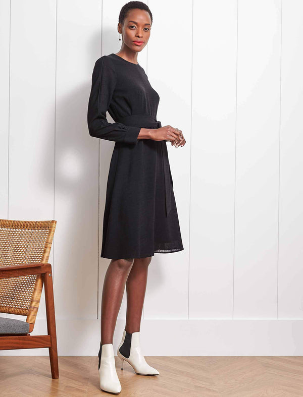 Zoe Long Sleeve Knee Length Dress - Black