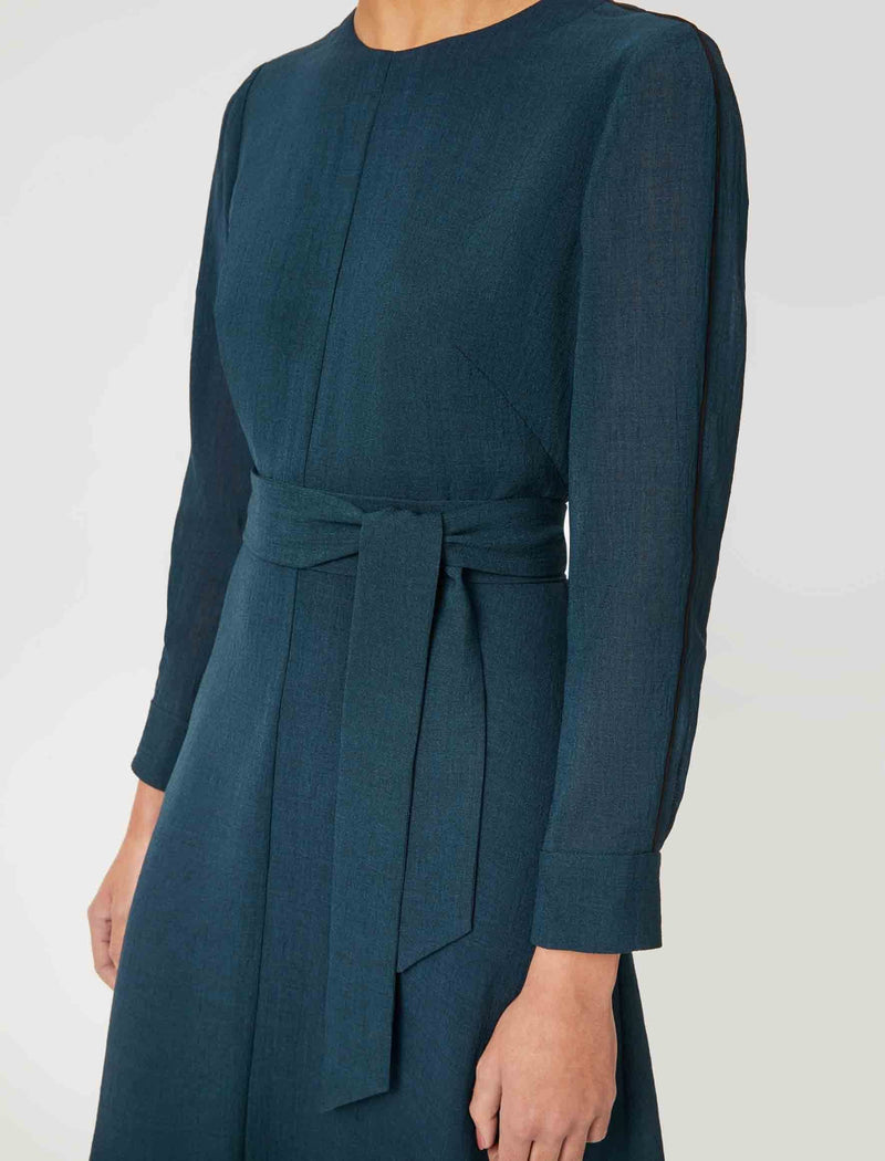 petrol blue long sleeve dress