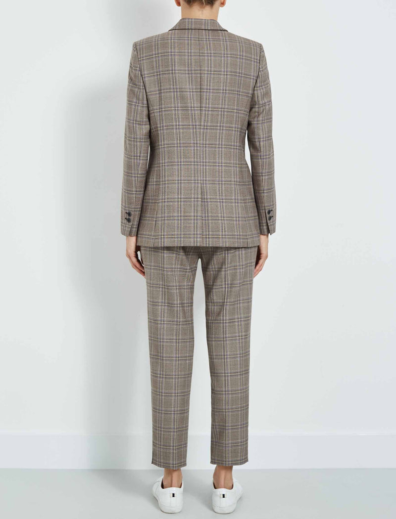 brown checked blazer