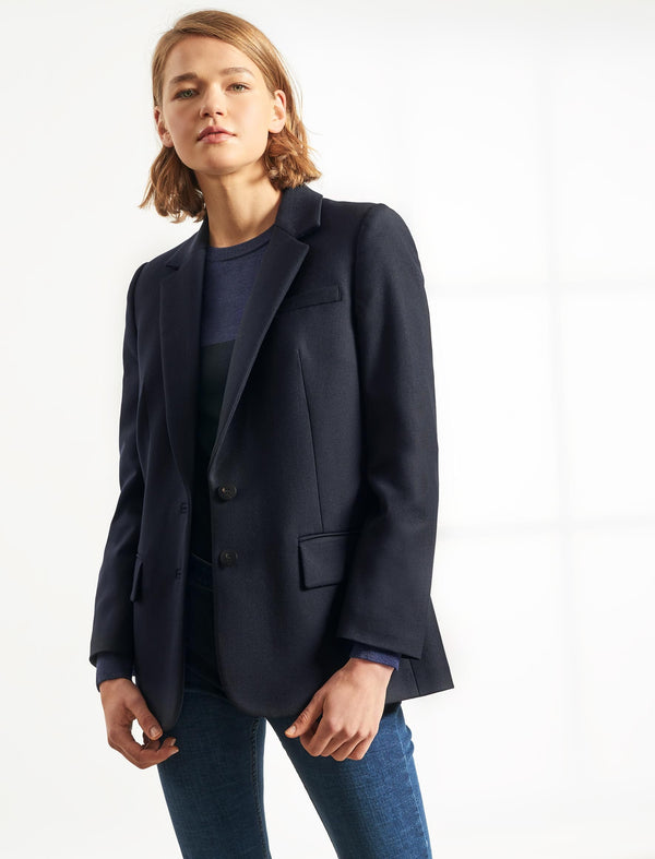 Jordan Stretch Wool Blend Relaxed Blazer - Navy
