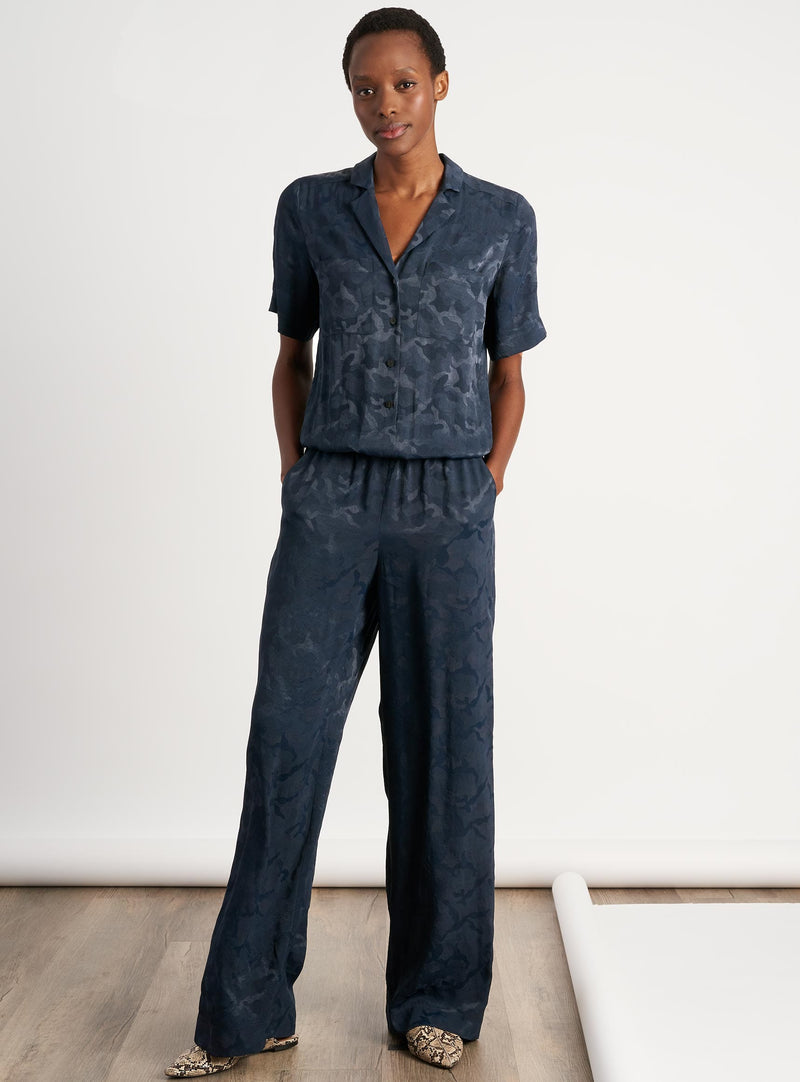 Spencer Short Sleeve V Neck Pocket Detail Jumpsuit - Navy Camo Jacquard
