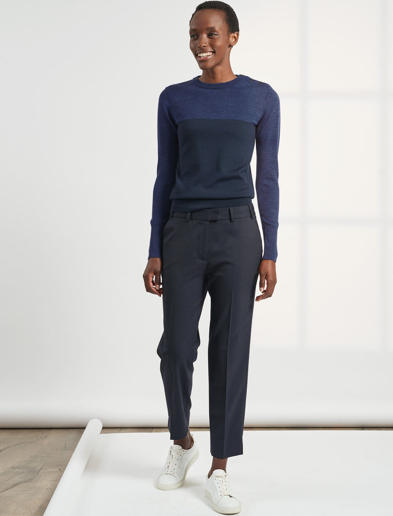 Tatum Split Hem Stretch Wool Blend Trouser - Navy
