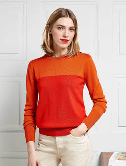 Jenna Colour Block Jumper - Burnt Orange/Crimson