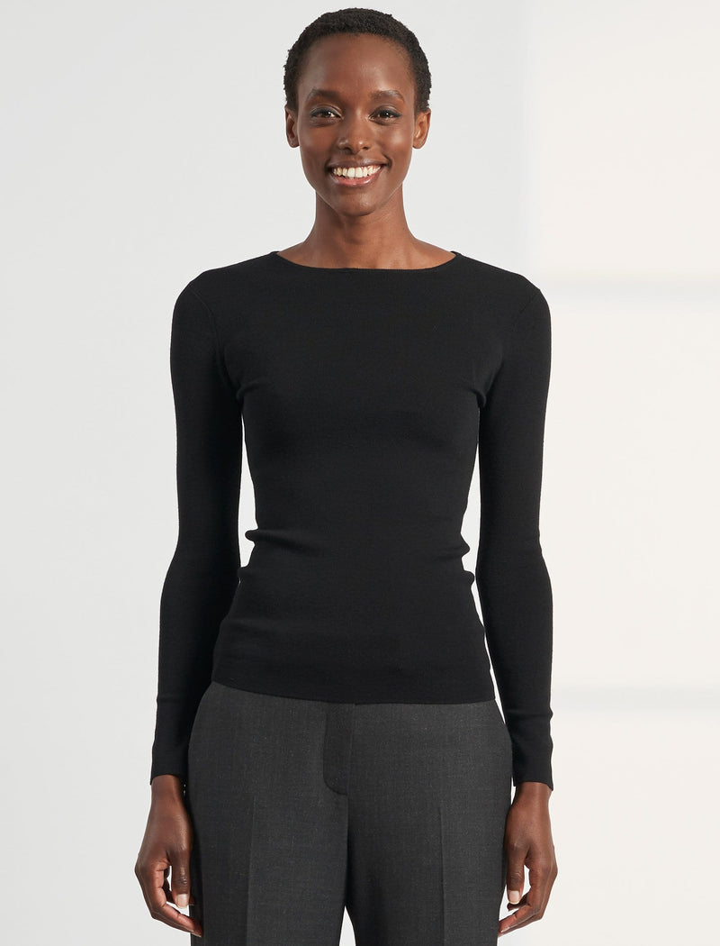 Freda Round Neck Jumper - Black