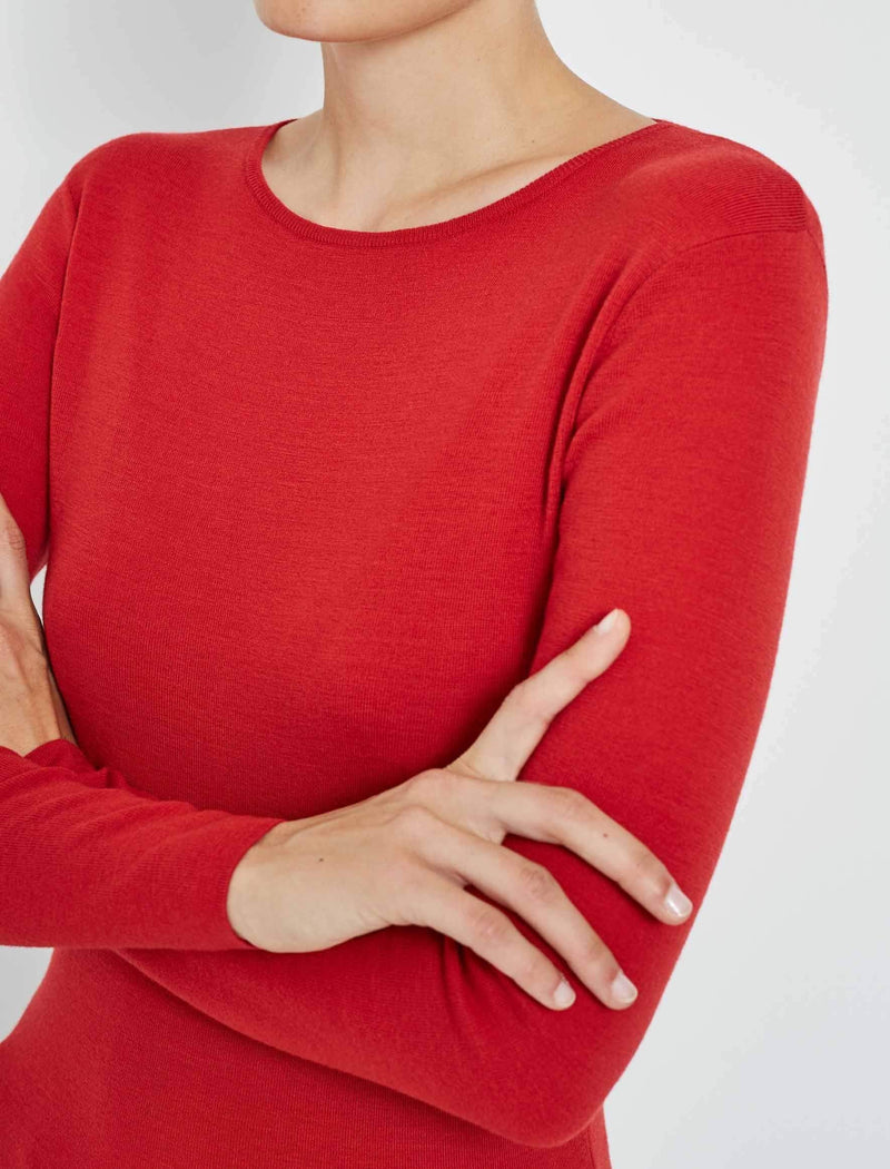 red round neck jumper